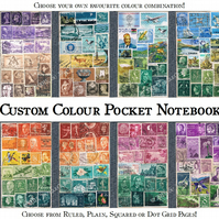 Pocket Travel Journal, A6 Notebook, Custom Colour upcycled postage stamp collage