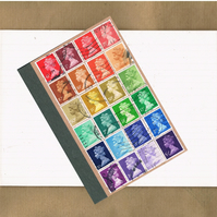 Recycled Rainbow Notebook - Upcycled British postage stamps, mail art journal