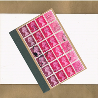 Valentine Pink Ombre, Upcycled A6 Notebook - British postage stamp lined jotter