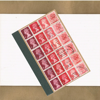 Valentine Red Ombre Lined Notebook - A6 Jotter, Upcycled British Postage Stamps