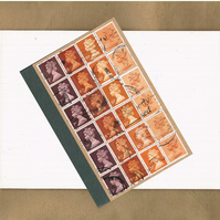 Retro Orange Upcycled Notebook - Recycled Jotter, British Postage Stamps Gift
