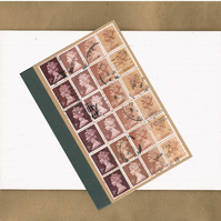 Sepia Brown Ombre Notebook - upcycled British postage stamps, lined A6 jotter