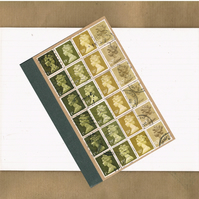 Retro A6 Notebook - Olive Green & Mustard Ombre, upcycled postage stamp jotter