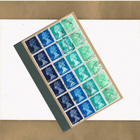 Turquoise Blue Ombre Upcycled A6 Notebook - British postage stamps, lined jotter