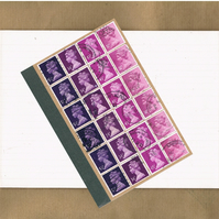 Plum Purple Ombre Notebook, Upcycled postage stamps, lined a6 jotter, mail art