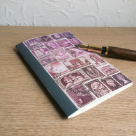 Postage Stamp Art A6 Notebook - Cocoa Purple - Choice of pages
