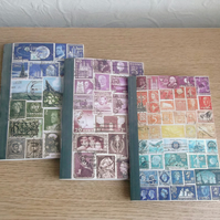 Set of 3 A6 Notebooks - Postage Stamp Art, choice of pages