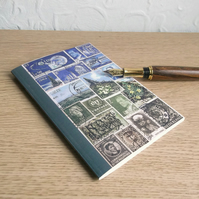 Postage Stamp Art A6 Notebook - Blue Green - Choice of pages