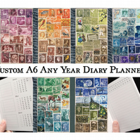 Any Year Diary, Book or Travel Journal, Index Notebook, upcycled postage stamps