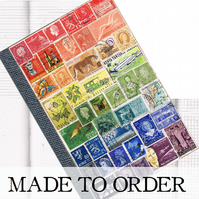 Recycled Rainbow Notebook, A5 Travel Journal - upcycled world postage stamps