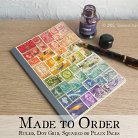 A5 Rainbow Notebook, Recycled Travel Journal - upcycled world postage stamps