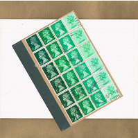 Upcycled Notebook - Bottle Green Ombre Recycled Postage Stamps, lined a6 jotter