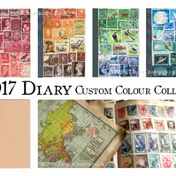 2017 Diary, A6 Month Planner - Upcycled postage stamp collage art