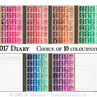 2017 Diary, A6 Month Planner - Upcycled British postage stamps