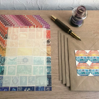 A5 Writing Paper Set - Choice of 3 Postage Stamp Collage Designs