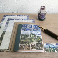 Letter Writing Set, Paper & NoteCard Set - Choice of 3 Postage Stamp Art Designs