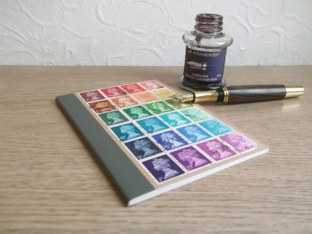 Recycled Rainbow - Upcycled Machin postage stamp notebook, custom-made, mail art