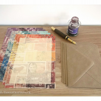 Postage Stamp Writing Paper Set, A5 - 3 Stamp Art Collage Designs