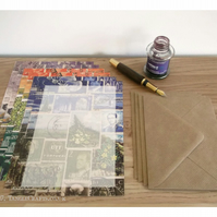 Landscape Letter Writing Set, A5 - 3 x Mail Art Postage Stamp Collage Designs