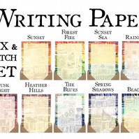 Postage Stamp Writing Paper Set, A5 - Choice of 9 Postage Stamp Art Designs