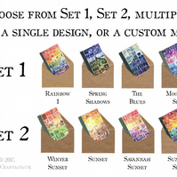 Postage Stamp Greeting Card Set, A6 - 4 Blank Notecards, Choice of 8 Designs