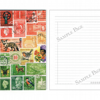 Postage Stamp Print Notebook - Christmas List Book, To Do Lists