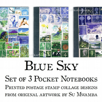 Postage Stamp Landscape Print Notebook Set - 3 x A6 Pocket Journal Gift Set