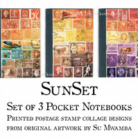 Sunset Notebook Set - Postage Stamp Art Print, 3 x A6 Travel Journal Gift Set