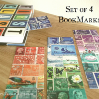 Set of 4 Postage Stamp Bookmarks - Printed Collage Designs, abstract landscape