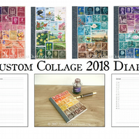2018 Diary A6 Monthly Planner - Original Postage Stamp Collage, Upcycled Vintage