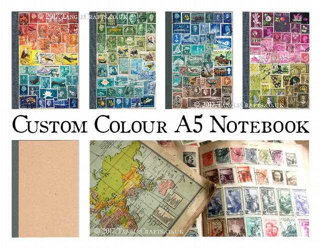 Travel Journal, Custom Colour A5 Notebook, Upcycled Vintage Postage Stamp Art