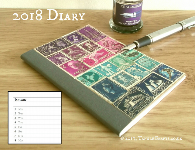 2018 Diary - Purple Teal A6 Pocket Planner, Upcycled Postage Stamp Art Collage