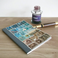 A6 Notebook, Turquoise Brown Upcycled Travel Journal - Postage Stamp Collage Art