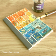 Pocket Travel Journal - Orange Blue Original Collage of Recycled Postage Stamps