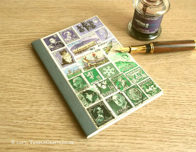 Lavender Landscape A6 Undated  Diary Journal - Recycled Stamp Art Collage