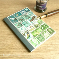 Turquoise Moss A6 Journal Notebook - Ecofriendly  Postage Stamp Collage
