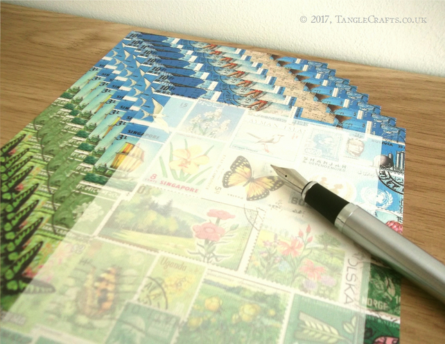 Summer Writing Paper Set, A5 - Postage Stamp Mail Art Collage Design