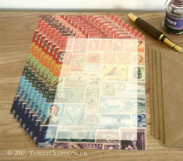 Rainbow Letter Writing Paper Set, A5 - Postage Stamp Penpal Stationery