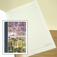Heather Landscape Notebook - A6 Journal in dusky colours, postage stamp art