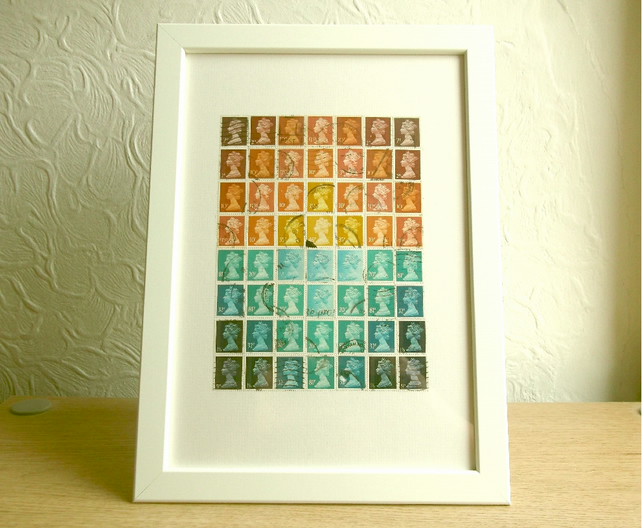 Sunset Postage Stamp Wall Art, Upcycled A4 Framed Collage Decor