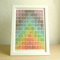 Rainbow Postage Stamp Wall Art, Upcycled A4 Framed Collage Decor