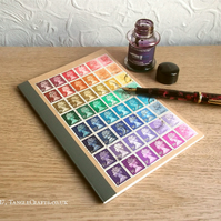 Retro Recycled Rainbow, Lined A5 notebook - Upcycled British postage stamps