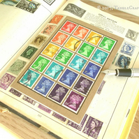 Rainbow Notebook, A6 - Upcycled British Machin Stamps