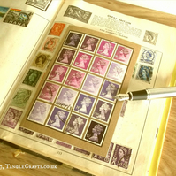 Purple Lavender Postage Stamp Notebook, A6 - Upcycled Recycled Office Gift