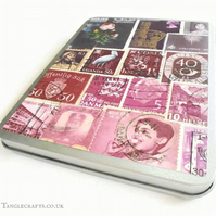 Purple Postage Stamp Storage Tin with hinged lid - Fits A6 Stationery