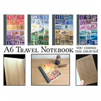 A6 Travel Journal, Index Notebook, Custom Colour upcycled postage stamp collage