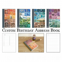 Address Book, Birthday Book, Monthly Planner - Upcycled Vintage Postage Stamps