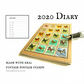 Butterfly Diary 2020, Upcycled Postage Stamps - A6 Line a Day Month Planner