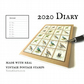 Bird Diary 2020, Upcycled Postage Stamps - A6 Pocket Month Planner