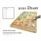 Australia Wildlife Diary 2020, Recycled Vintage Postage Stamps, A6 date book